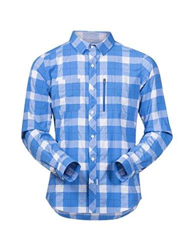 Bergans Jondal Chemise Manches Longues Homme, Athens Blue/White Check Modèle S 2018 T-Shirt Manches Longues