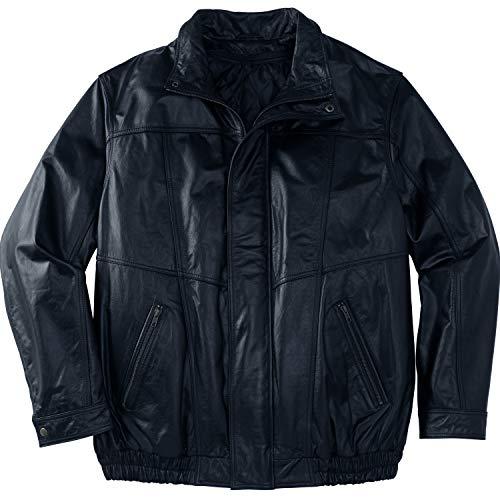 KingSize Men's Big & Tall Leather Bomber Jacket - Tall - 4XL, Black