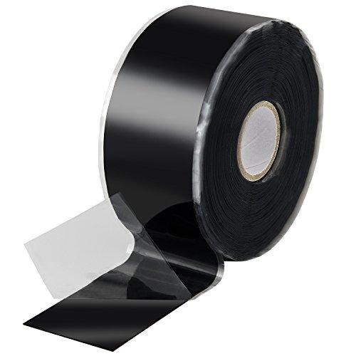 Poppstar 1x 11m selbstverschweißendes Silikonband, Silikon Tape Reparaturband, Isolierband und Dichtungsband (Wasser, Luft), 38mm breit, schwarz