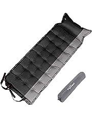 Flycreatエアーマット キャンピングマット 自動膨張式 5cm厚さ1人用キャンプマット 折り畳み 枕付き 防水 コンパクト 連結可能 昼寝マット