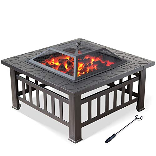 Lhh Outdoor Garden Backyard Bonfire Fire Pit 32in, 3 In 1 Square Fire Pit Table with BBQ Grill Shelf & Waterproof Cover, Black Finish