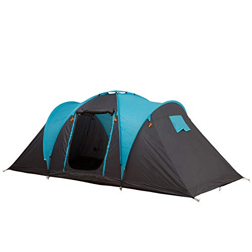 Outsunny 4 Person Family Camping Tent 3 Rooms 3-Season Water-Resistance 3000M Polyester Outdoor Home Festival Hiking - Blue&Grey