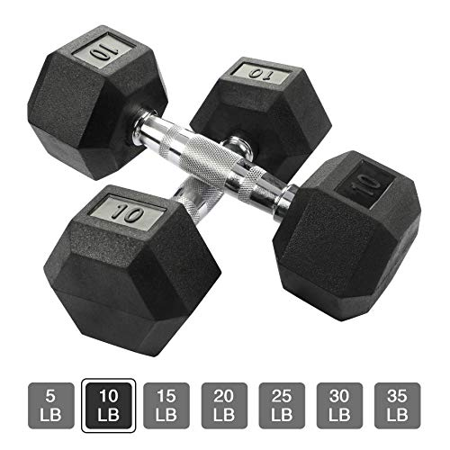 Aimyoo Hex Rubber Dumbbell for Full Body, Home Fitness, Weight Loss, Fitness Dumbbells 10lbs,2PCS