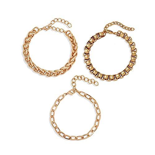 Denluns Juego de 2 pulseras elegantes apilables con apertura para mujer, ajustables, de capas doradas, juego de pulseras de varias capas con cadena de mano ajustable para mujer.,