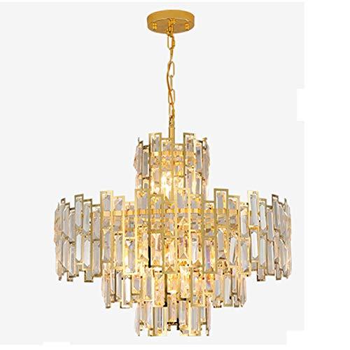 Lámpara de araña de lujo con cuentas de cristal K9, lámpara de techo moderna dorada, semi empotrada, lámpara colgante ajustable E14 para sala de estar, dormitorio, dorado 60x45cm (dorado 60x45cm)