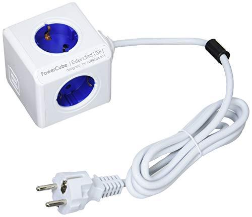 allocacoc PowerCube DuoUSB Extended Blue EU, 4-voudige stekkerdoos met 2,1 A USB-laadstroom, Wit Blauw