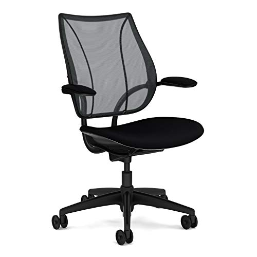 Humanscale Liberty Task Chair | Monofilament Black Mesh Back and Fourtis Black Seat | Black Frame with Black Trim | Height-Adjustable Duron Arms | Standard Foam Seat, 3' Carpet Casters, 5' Cylinder