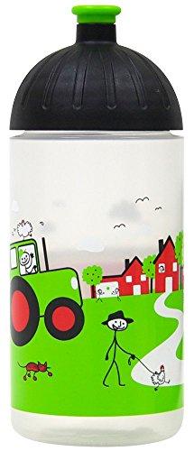 ISYbe Original Marken-Trink-Flasche für Klein-Kinder, 500 ml, BPA-frei, Landleben-Motiv für Mädchen & Jungen, für Schule-Reisen-Kita-Kiga-Outdoor, Auslaufsicher auch mit Sprudel, Spülmaschine-fest