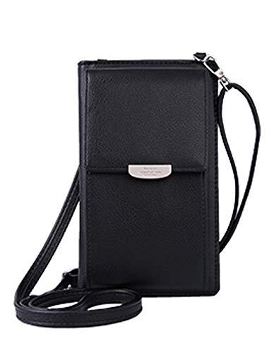 DNFC Damen Umhängetasche Kleine Handtasche Geldbörse Handy Tasche Portemonnaie Lang Geldbeutel PU Leder Geldtasche für Mädchen und Frauen (Schwarz)