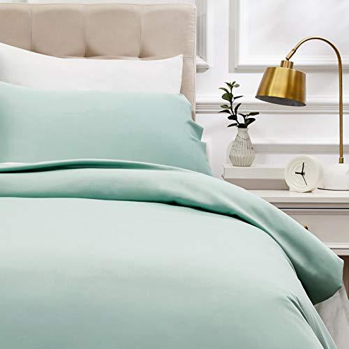 AmazonBasics - Bettwäsche-Set, Fadendichte 400, Baumwollsatin, 135 x 200 cm & einem Kissenbezug, 50 x 80 cm, Hellgrün(Seafoam Green)