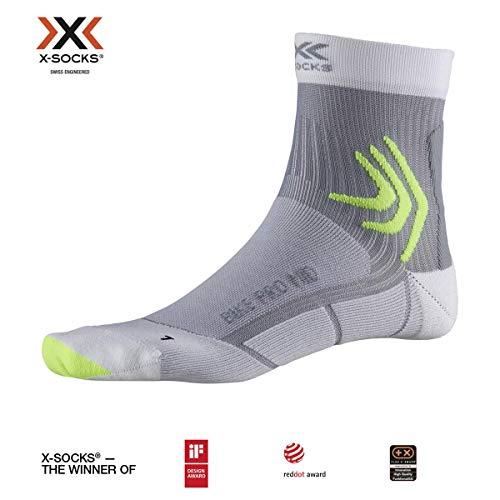 X-Socks Bike PRO Mid Socks, Unisex – Adulto, Arctic White/Dolomite Grey, 35-38