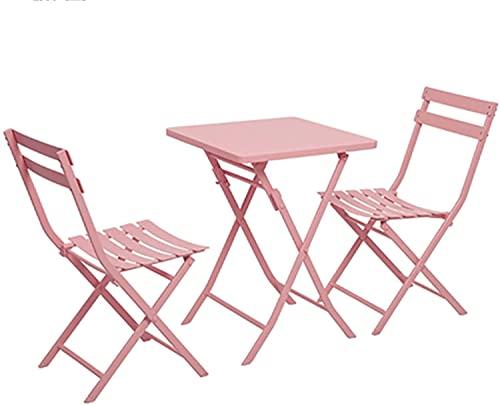 wsbdking Conjunto de muebles de asiento con respaldo, terraza al aire libre de tres piezas Taberna, mesa y silla fáciles de instalación, conjunto de sillas, a prueba de agua y protector solar 1 Mesa y