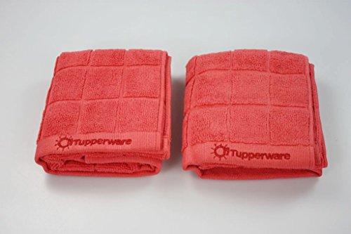 TUPPERWARE 2x FaserPro Küche Mikrofasertuch abtrocknen Geschirr rot 27623