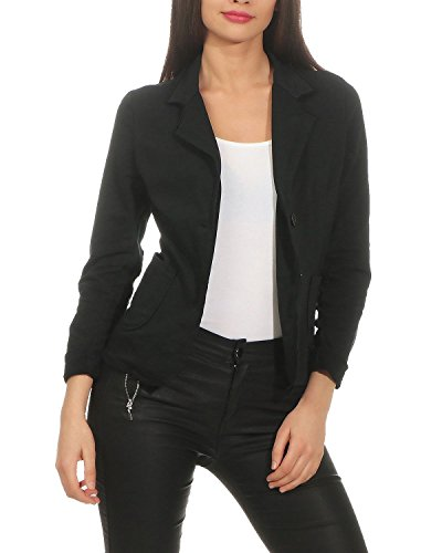 ZARMEXX Damen Blazer Kurzjacke mit Knöpfen Jacket Sakko Basic Coat Vintage Sweatjacke (schwarz, M)