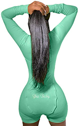Women's Onesies V Neck Bodysuit Jumpsuit Butt Flap Pajama...