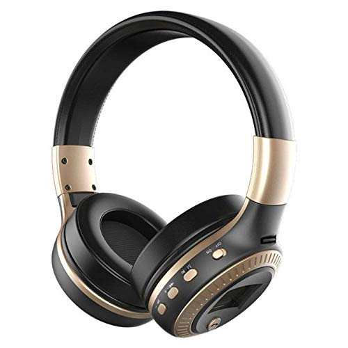 LCD Display HiFi Wireless Headphones Bluetooth Headset Support TF Card/FM Radio/Bluetooth AUX Stereo Headset With Mic Deep Bass Gold(Arrive in 7-15 days)