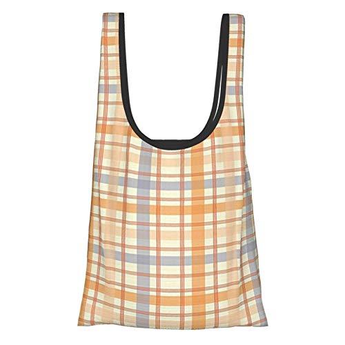 J-shop Retro Classic Celtic Plaid Pattern Squares Stripes Geometric Traditional Tile Orange Peach Light Blue Reusable Grocery Bags, Eco-Friendly Shopping Bag