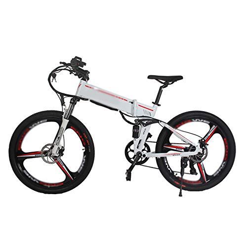 PHASFBJ 26 Zoll Klappbares E-Bike, Elektrofahrrad Mountainbike Elektrisches Faltbares Fahrrad mit 350W Kettenschaltung Shimano 21 Gang 48V 10A Lithium Batterie,Weiß