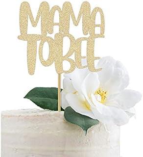 DKISEE Tarjeta con purpurina para tarta de mamá a abeja, temática de abeja dorada, baby shower, mamma momma 15 cm
