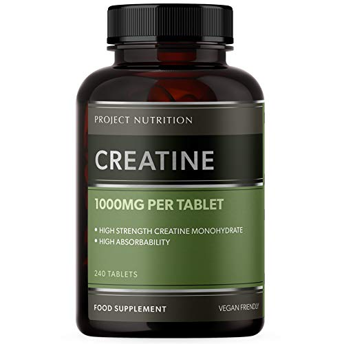 Creatine Monohydrate Supplement 3000mg - 240 High Strength 1000mg Tablets - High Potency and Absorption - Made in The UK by Project Nutrition