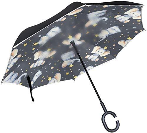 Lindo bebé elefante estrella a prueba de viento mango en forma de C a prueba de viento a prueba de rayos UV viaje al aire libre sol coche paraguas reversible