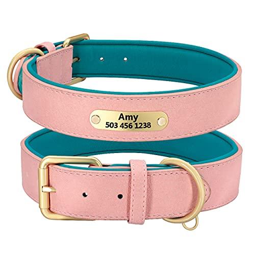 Beirui Collar personalizado de cuero para perro, collar de perro de cuero multicolor para perros de niña, collar de perro acolchado suave para perros pequeños medianos y grandes (rosa, S)