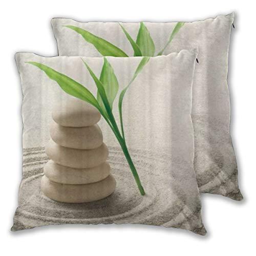 BOKEKANG Fundas de Cojines,Zen Stone Garden Rocks SPA Bamboo Beach Art,Fundas de Almohada Decorativas cuadradas para sofá Dormitorio hogar Hotel 50x50cm