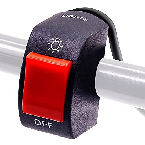 Ourbest Interruptor de manillar 12V 7/8 pulgadas 22 mm Botón de encendido y apagado para bicicleta Motocicleta Scooter Luz antiniebla / Lámpara de conducción Interruptor de palanca Rojo