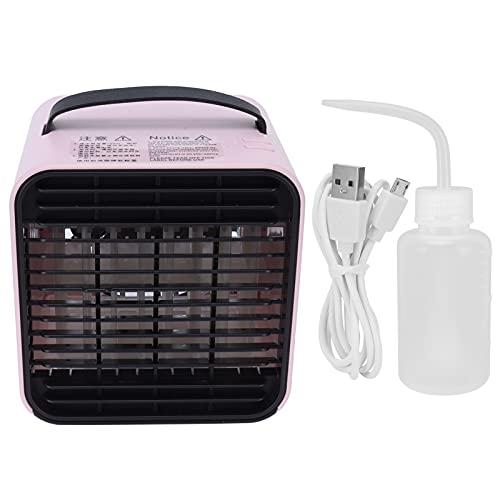 Ventilador de Aire Acondicionado, Ventilador de enfriamiento de Carga USB Rosa con Iones Negativos para el hogar para el Dormitorio