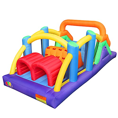 BESTPARTY Inflatable Obstacle Course Bounce House Castle with Large Slides Bounce Area and Obstacles...