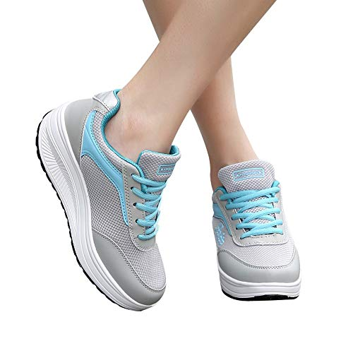 Dasongff Damen Schuhe Slip On Sneakers Freizeit Mesh Atmungsaktive Fitness Turnschuhe Sommer Schnürer Plattform Air Leichte Outdoor Walking Schuhe Bequem Gym Fitness Sommerschuhe Damenschuhe