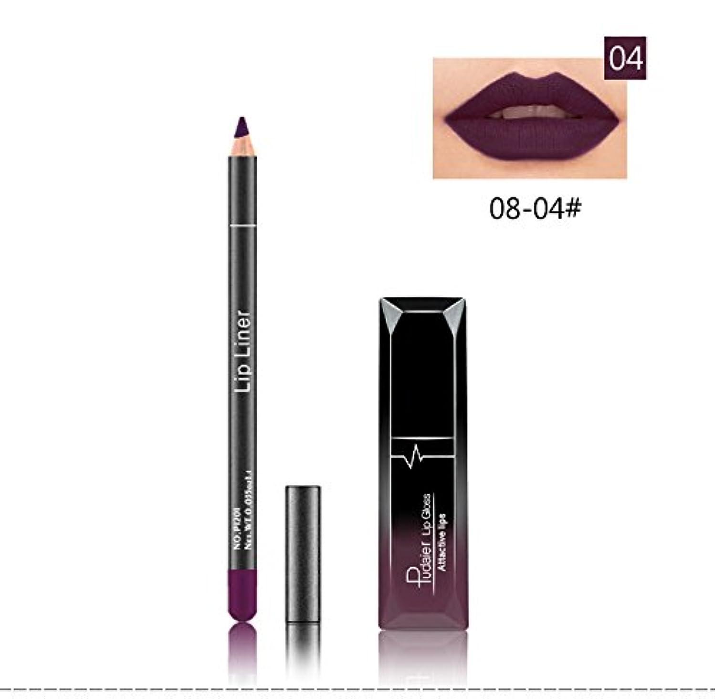 ターミナル立派な接続(04) Pudaier 1pc Matte Liquid Lipstick Cosmetic Lip Kit+ 1 Pc Nude Lip Liner Pencil MakeUp Set Waterproof Long Lasting Lipstick Gfit