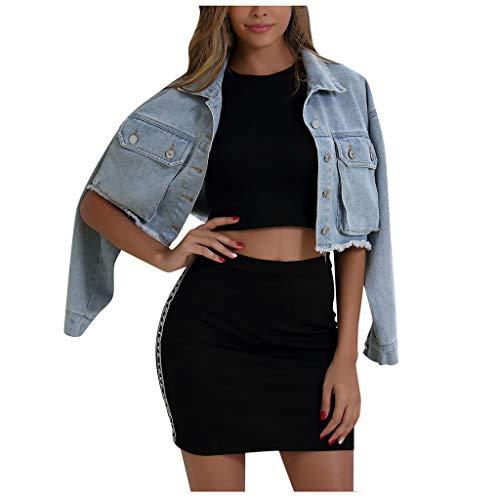 Lialbert Jeansjacke Damen Kurz Jacke Mantel, Übergangsjacke Herbst Vintage Langhülse Beiläufige Outwear Übergangsjacke Leichte Jacke Denim Taillierte Crop Jeans