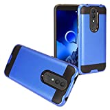Z-GEN - Alcatel Onyx 5008R - Brushed Style Hybrid Phone Case + Tempered Glass Screen Protector - CS3 Blue