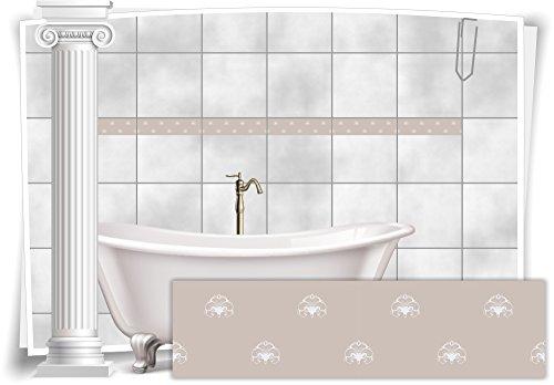 Medianlux Fliesenaufkleber Bordüre Fliesen Aufkleber Vintage Nostalgie Retro Bad WC Küche, 8 Stück, 20x5,2cm (BxH)