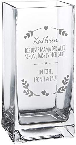 Casa Vivente Blumenvase mit Gravur Beste Mama der Welt, Personalisiert mit Namen, Glasvase für Schnittblumen, Deko-Vase als Muttertagsgeschenk