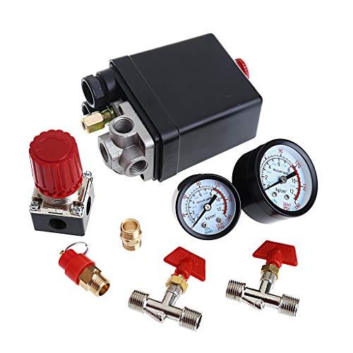 ZZALLL Luftkompressor Druckventilschalter Manifold Relief Regulator Manometer