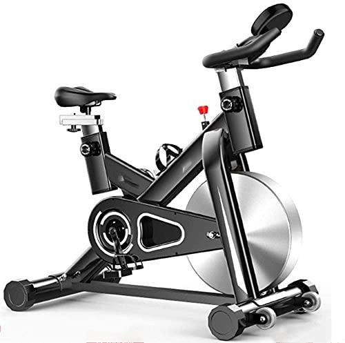 Qjkmgd Bicicleta de ejercicio interior, ciclismo de ejercicio controlado magnéticamente silencioso con pantalla LCD resistencia infinitamente ajustable, pedal de seguridad antideslizante, ideal para l