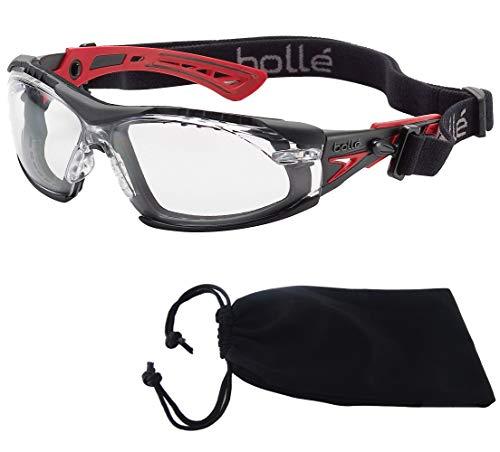 Bolle SAFETY ラッシュ プラス 4点セット(ゴーグル本体/ガスケットキット/布ポーチ/オリジナルメガネクロス) サバゲー グラス シューティング 保護 メガネ (ブラック/レッド, レンズ:クリア)