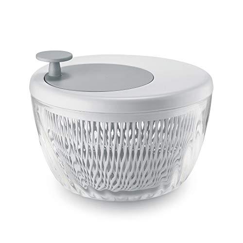Guzzini . Centrifuga Insalata 26 cm Bianco Grigio Spin&Store Insalatiera Trasparente
