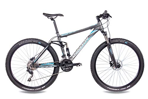 CHRISSON 29 Zoll Mountainbike Fully - Hitter FSF grau blau - Vollfederung Mountain Bike mit 30 Gang Shimano Deore Kettenschaltung - MTB Fahrrad für Herren und Damen mit Rock Shox Federgabel - 2
