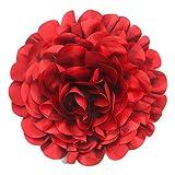 Cussi flor grande de tela con pinza 30 cm-aplique, tocado, decoración (rojo)