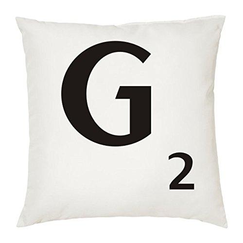 Cojines con la LETRA G imitación fichas de Scrabble o apalabrados. Medida 45X45 cm. Color blanco. Solo funda