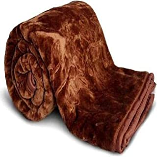 Cobija Ultra Soft Luxurious Embossed Very Warm Korean Mink AC Blanket Single Bed for Winter - Brown (150 X 230 cm) (Single...