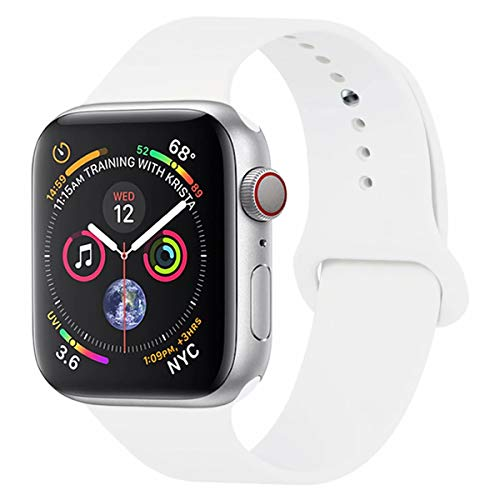 YC YANCH Compatible with for Apple Watch Band 42mm 44mm, Soft Silicone Sport Band Replacement Wrist Strap Compatible with for iWatch Series 5/4/3/2/1, Nike+, Sport, Edition, M/L, White