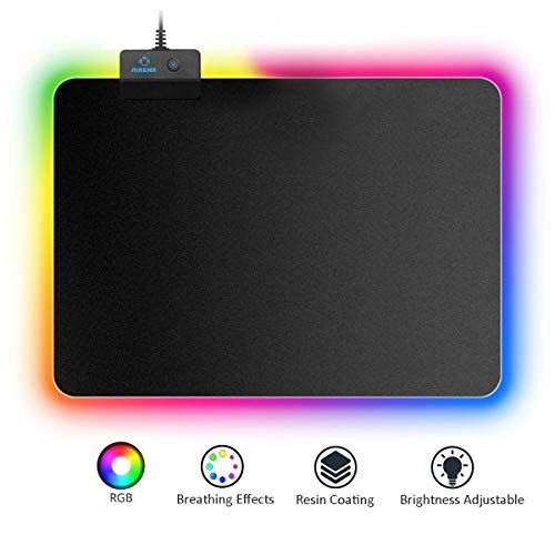 Airena RGB Gaming-muismat met 7 ledkleuren, 14 verlichtingsmodi, regenboogeffecten, stofoppervlak, tafelonderlegger, lichtgevende muismat, non-skid muis/muizen/toetsenbord mat voor PC/laptop en gamers