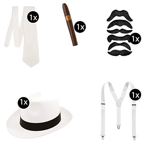 L+H Mafia Gangster Kostüm | Krawatte Hut Zigarre Hosenträger Bart | 5-teiliges Premium Zubehör Accessoires XXL Set | 1920er Jahre Vintage Style | Al Capone Outfit für Männer u. Frauen in weiß