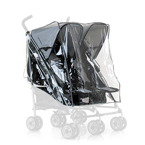 Hauck, Protector de lluvia universal para cochecitos gemelares, resistente al agua y duraderos, compatible con Turbo Duo y Roadster Duo, color transparente