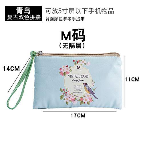 Sac de maquillage de bande dessinée petit portable portable mini chiffon simple sac à main mignon sac de rangement cosmétique sac de neige bleu