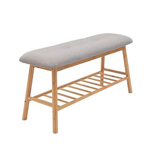 Zapatero de bambú para zapatos, organizador de almacenamiento, estante de zapatos, soporte para cama, taburete para pasillo, dormitorio, sala de estar, pasillo, zapatero